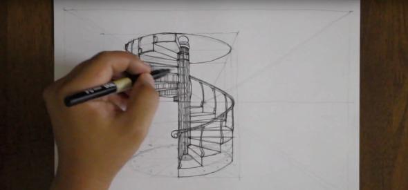 Cómo dibujar la perspectiva de una escalera en espiral