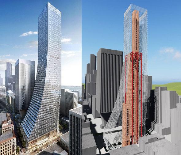 Torre de 58 pisos sin núcleo de concreto ni varillas de refuerzo
