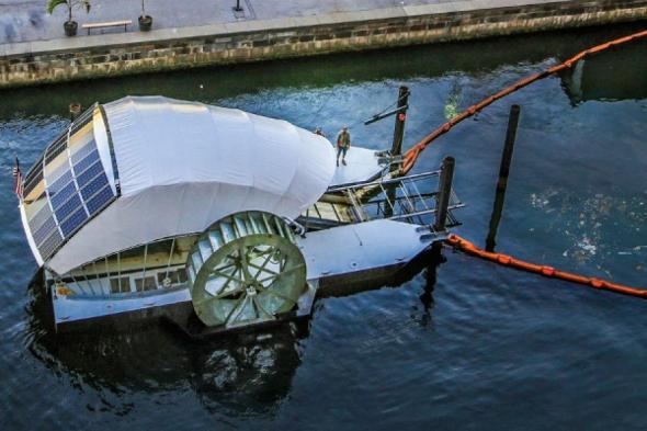 El Sr. Trash Wheel, la máquina traga-basura
