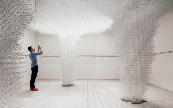 La pérgola del pabellón de Croacia que fue creada por robots