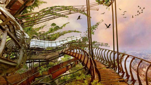 Inspirados en Jules Verne y Leonardo da Vinci, artistas franceses construyen el jardín colgante más grande del mundo