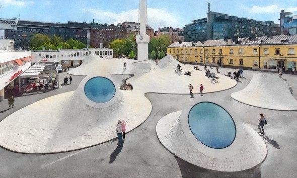 Museo subterráneo en Helsinki se ilumina a través de una plaza pública